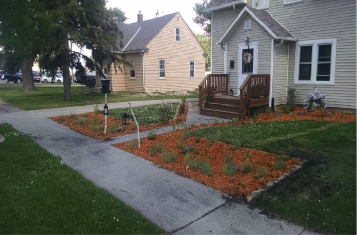 Rain Garden installed in Morris, MN with Clean Water Funds